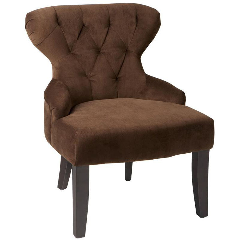 ... Our Ave Six Curves Hour Glass Velvet Accent Chair With Solid Wood Legs    Chocolate Is ...