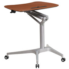 Mobile Sit-Down, Stand-Up Mahogany Computer Ergonomic Desk with 28.25