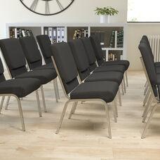 HERCULES Series 18.5''W Stacking Church Chair in Black Fabric - Silver Vein Frame