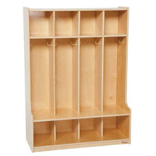 4-Section Seat Locker with Two Coat Hooks in Each Section - Assembled - 36''W x 15''D x 49''H