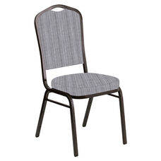 Embroidered Crown Back Banquet Chair in Sammie Joe Aluminum Fabric - Gold Vein Frame