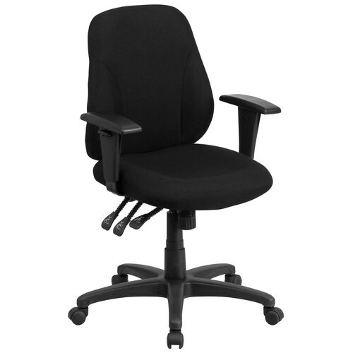Our Mid-Back Black Fabric Multifunction Swivel Ergonomic Task Office Chair with Adjustable Arms is on sale now.