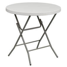 3-Foot Round Granite White Plastic Folding Table