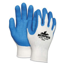Memphis™ FlexTuff Latex Dipped Gloves - White/Blue - Large - 12 Pairs