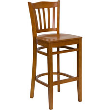 Cherry Finished Vertical Slat Back Wooden Restaurant Barstool