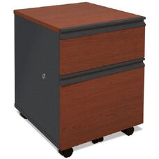 Prestige + Mobile Pedestal with Locking Drawers and Casters - Bordeaux and Graphite