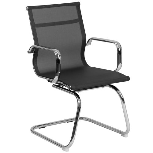 Our Transparent Black Mesh Side Reception Chair with Chrome Sled Base is on sale now.