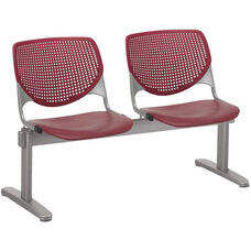 2300 KOOL Series Beam Seating with 2 Poly Perforated Back and Seats with Silver Frame - Burgundy