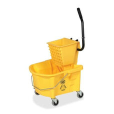 Genuine Joe Mop Bucket Wringer Combo - 3'' Casters - 26 qt. - Yellow