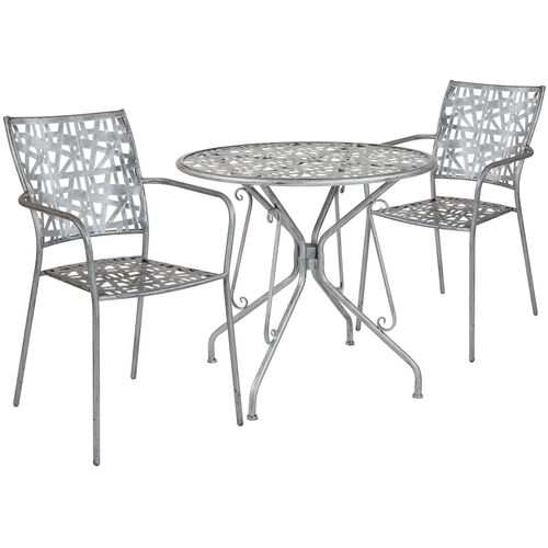 "Our Agostina Series 31.5"" Round Antique Silver Indoor-Outdoor Steel Patio Table with 2 Stack Chairs is on sale now."