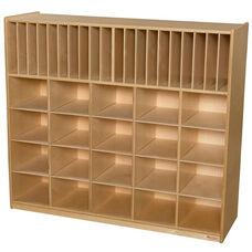 Wooden Multi-Storage Unit with 20 Plastic Wicker Baskets - 48