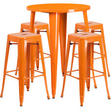 "Commercial Grade 30"" Round Orange Metal Indoor-Outdoor Bar Table Set with 4 Square Seat Backless Stools"