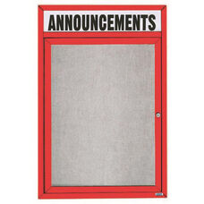 1 Door Outdoor Enclosed Bulletin Board with Header and Red Powder Coated Aluminum Frame - 36