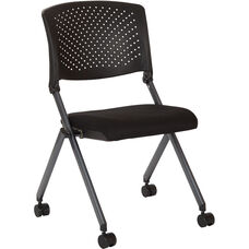 Work Smart Plastic Nesting Chair with Titanium Finish Frame - Set of 2 - Black Icon