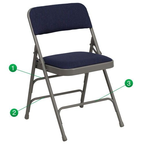 Our HERCULES Series Curved Triple Braced & Double Hinged Navy Fabric Metal Folding Chair is on sale now.