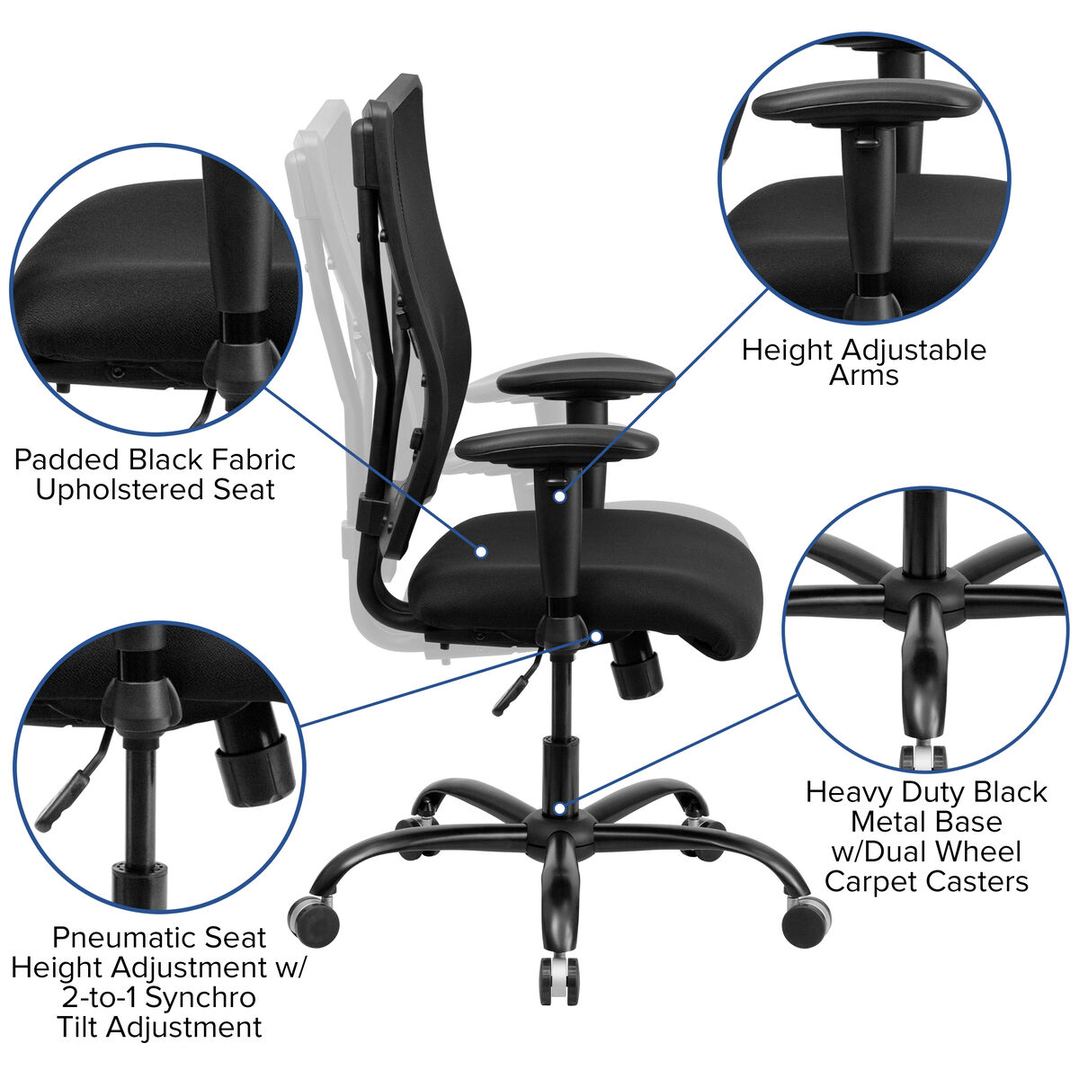Hercules Series Big Tall 400 Lb Rated Black Mesh Executive Swivel Ergonomic Office Chair With Adjustable Arms