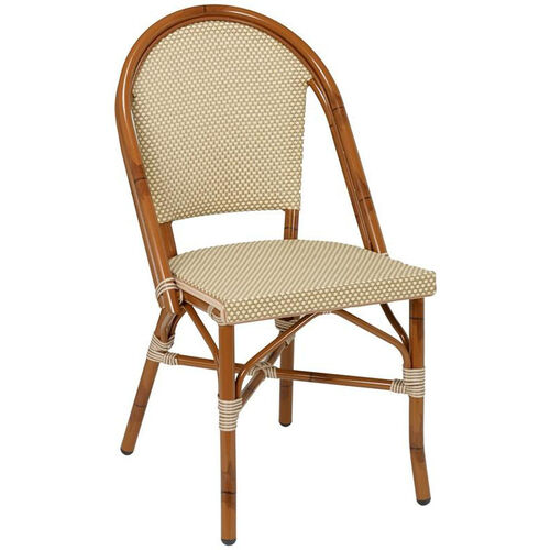 Bistro Collection Outdoor Side Chair with Painted Aluminum Frame - Light Basket