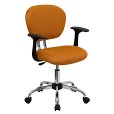 Mid-Back Orange Mesh Swivel Task Chair with Chrome Base and Arms