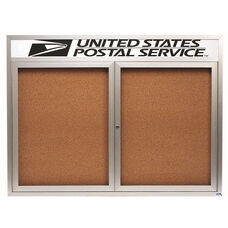 2 Door Indoor Enclosed Bulletin Board with Header and Aluminum Frame - 36