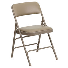 HERCULES Series Curved Triple Braced & Double-Hinged Beige Vinyl Metal Folding Chair