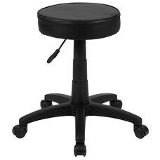 Black Adjustable Doctors Stool on Wheels with Ergonomic Molded Seat