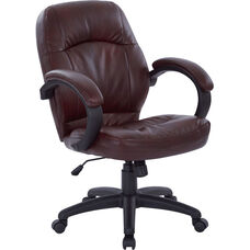 Work Smart Deluxe Faux Leather Managers Chair with Padded Arms - Chestnut Brown