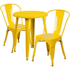 """Commercial Grade 24"""" Round Yellow Metal Indoor-Outdoor Table Set with 2 Cafe Chairs"""