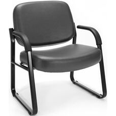 Big & Tall Guest and Reception Vinyl Chair with Arms - Charcoal