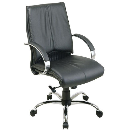 Our Pro-Line II Deluxe Mid Back Leather Chair with Chrome Base and Padded Chrome Arms - Black is on sale now.