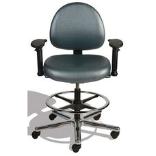 Triton Medium Back Mid-Height Drafting Cleanroom ESD Chair with 350 lb. Capacity - 4 Way Control - Black Vinyl