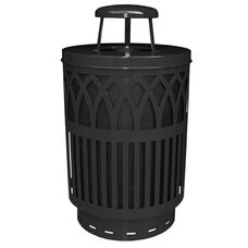 40 Gallon Covington Galvannealed Steel Rain Cap Can with Plastic Liner - Black
