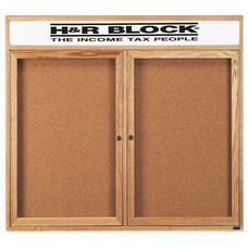 2 Door Enclosed Bulletin Board with Header and Oak Finish - 48