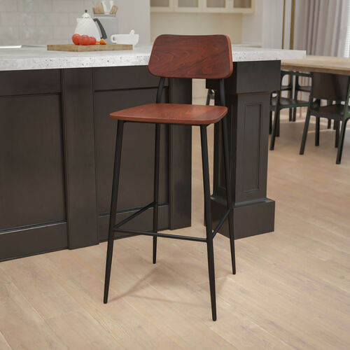Industrial Barstool with Gunmetal Steel Frame and Rustic Wood Seat