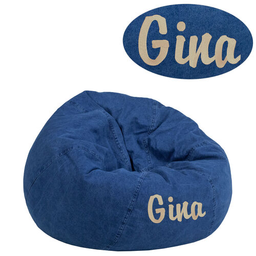 Our Personalized Small Denim Kids Bean Bag Chair is on sale now.