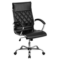 High Back Designer Quilted Black Leather Executive Swivel Office Chair with Chrome Base and Arms
