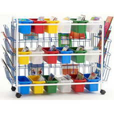 Deluxe Classroom/Library Book Browser Cart with 3 Book Displays and 18 Small Tubs - 41