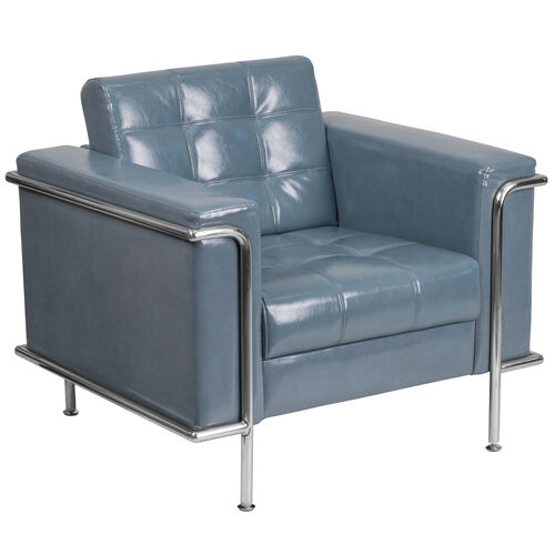 Our HERCULES Lesley Series Contemporary Gray Leather Chair with Encasing Frame is on sale now.