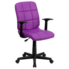 Mid-Back Purple Quilted Vinyl Swivel Task Office Chair with Arms