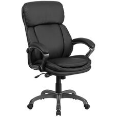 High Back Black Leather Executive Swivel Chair with Lumbar Support Knob with Arms