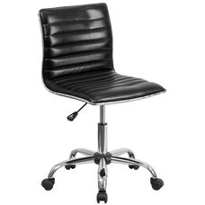 Low Back Designer Armless Black Ribbed Swivel Task Office Chair