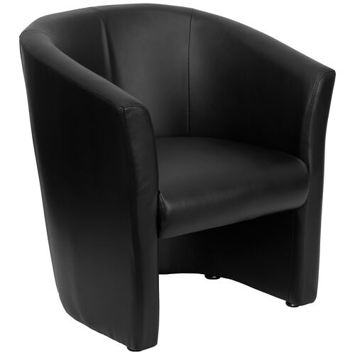 Our Black LeatherSoft Barrel-Shaped Guest Chair is on sale now.