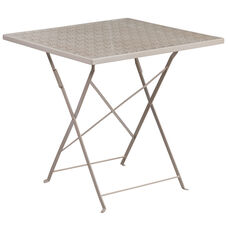 "Commercial Grade 28"" Square Light Gray Indoor-Outdoor Steel Folding Patio Table"