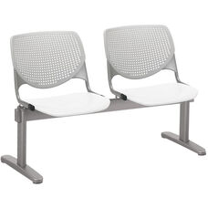 2300 KOOL Series Beam Seating with 2 Poly Light Grey Perforated Back Seats and White Seats