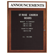 1 Door Enclosed Changeable Letter Board with Header and Walnut Finish - 36