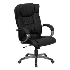 High Back Black Leather Executive Swivel Chair with Titanium Nylon Base and Loop Arms