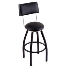 Classic 25'' Black Finish Counter Height Swivel Stool with Black Vinyl Seat and Back