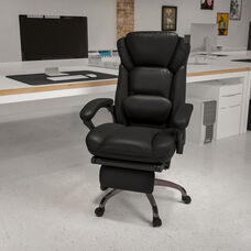 High Back Black LeatherSoft Executive Reclining Ergonomic Swivel Office Chair with Outer Lumbar Cushion and Arms