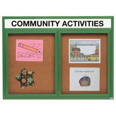 2 Door Indoor Enclosed Bulletin Board with Header and Green Powder Coated Aluminum Frame - 48
