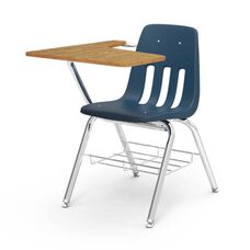 Quick Ship 9000 Series Student Combo Desk with Right Handed Medium Oak Laminate Tablet Arm, Chrome Frame, and Navy Chair - 20