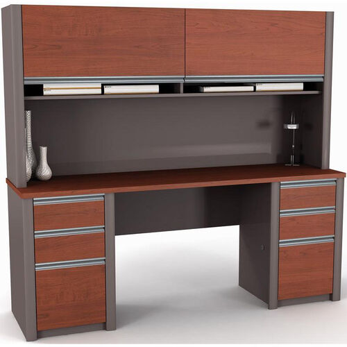 Connexion Credenza and Hutch Kit with Storage Drawers and Keyboard Drawer - Slate